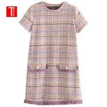 Tmoda298 2021 outono feminino doce tweed mini vestido borlas retalhos manga curta o pescoço feminino bonito vestidos de streetwear
