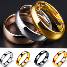 4MM Titanium Steel Silver color Couple Ring Simple Fashion Rose Gold Black Gold Color Finger Ring For Women and Men gifts