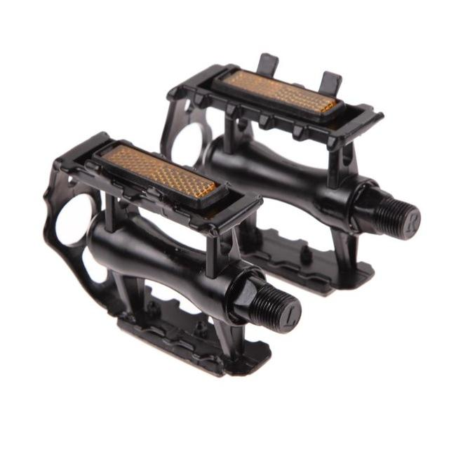 1Pair MTB Ultralight Bike Bicycle Pedals Mountain Road Bike Part Pedal Cycling Aluminum Alloy Ultra-Light Hollow Flat CagePedals - Color: Black