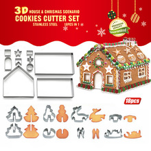 18pcs/set 3D Stainless Steel Cookie Cutter Mold Christmas House Tree Star Deer Cake Chocolate Biscuit Baking Bakeware Mold Tools christmas tree cookies cutter stainless steel biscuit cake mold baking tools