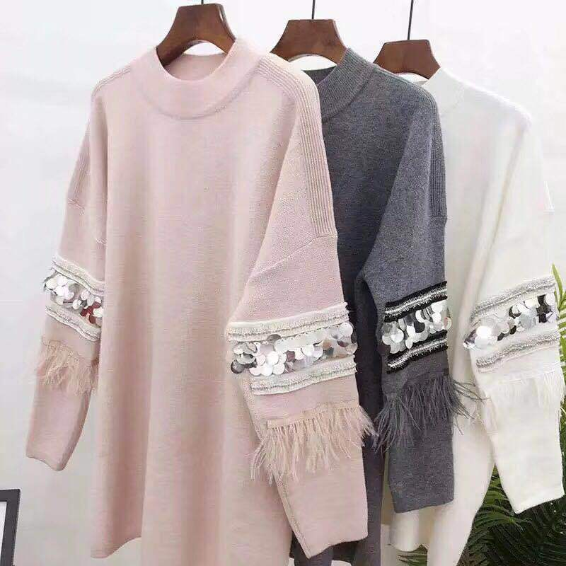 New Autumn Elegant Sequin Applique Women Sweaters And Pullovers Feather Tassel Long Sleeve Sweater Pullover Female Loose Jumpers