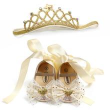Bow Heart Decor Baby Shoes Crown Headband Handmade Soft Lace Ribbon Shoes 1st Birthday Gift Infant Crib Ballerina Shoes