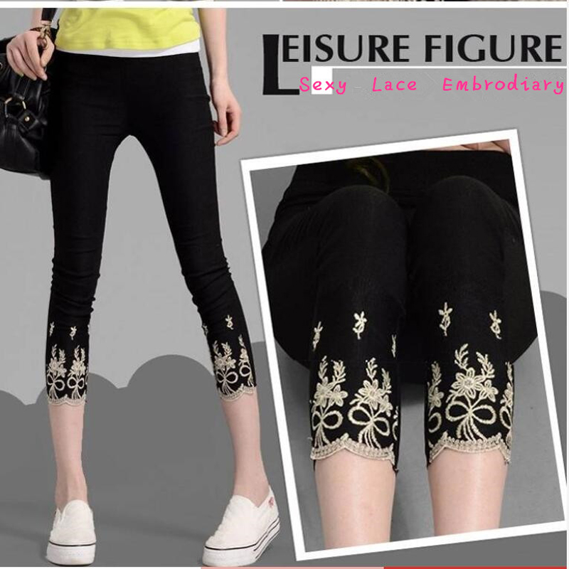 Women Leggings 2020 Summer Thin 3/4 Capri High Waist Tummy Control Embrodiary Lace Short Jeggings Plus Size 6XL 5XL White Black
