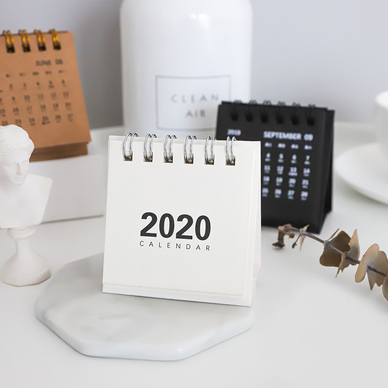 1Pc 2020 Cute Simple Desk Coil Calendar Cartoon Mini Table Calendars DIY Memo Pad Planner Schedules School Supplies