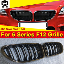 1 Pair F12 Front Grille ABS Gloss Black For M6 2-Slats Grills 640i 640d 640ixD 650i 650d 650ixD Kidney 2012-17