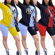 Повседневный Женский комплект из футболки и велосипедных шортов