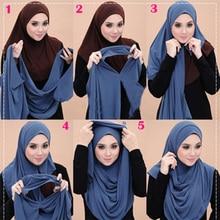 Bufanda musulmana hijab de chifón con lazo doble para mujer, pañuelo musulmán para la cabeza, pañuelo islámico hiyab de Malasia, foulard femenino 2019