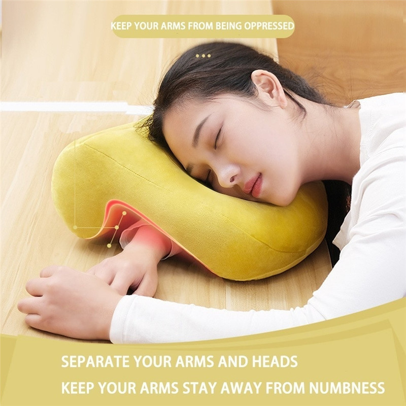 Sleeping Pillow Head Cushion Hollow Design Neck Pillow Support Head Rest Soft Neck Breathable Airplane Cushion Home Office Nap image