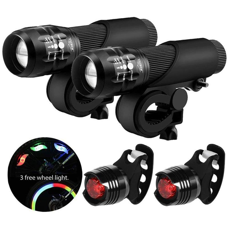 Bicycle Light Set Led Bicycle Light With Zoomable Function 3 Modes 3 Aaa Battery Powered Bicycle Light Kit (With 3 Wheel Lights