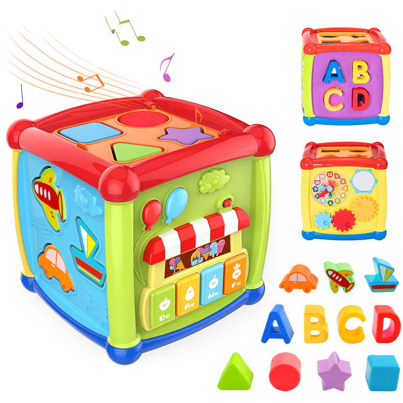 Multifunctional Musical Toys Toddler Baby Box Music Activity Cube Gear Clock Geometric Blocks Sorting Educational Toys