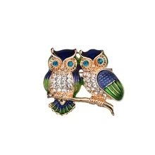 New  2 Birds Vintage Metal Rhinestone Pins and Brooches for Women Brooch Owl Pin Badges Party Animal