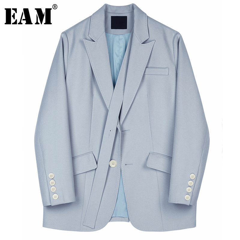 [EAM]  Women Blue Brief Stitch Big Size Blazer New Lapel Long Sleeve Loose Fit  Jacket Fashion Tide Spring Autumn 2020 1S167