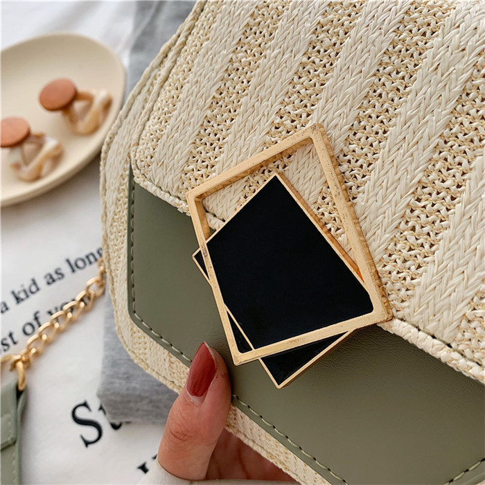 H82d526b818d542b2af13a9d0d3663831M - Handbag Women Summer Rattan Bag Hexagon Mulit Style Straw+leather Handmade Woven Beach Circle Bohemia Shoulder Bag New Fashion