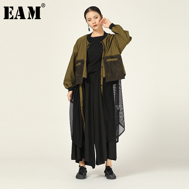 [EAM] Women Mesh Spliced Hollow Out Trench New Stand Long Sleeve Loose Fit Windbreaker Fashion Tide Spring Autumn 2020 1A712
