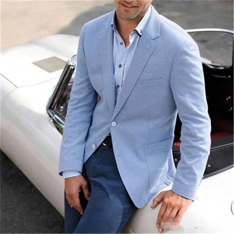 Light Blue Mens Wedding Suits Tuxedos Notch Lapel Groomsmen Tuxedos Popular Man Blazers Jacket Excellent Suit(Jacket+Pants)