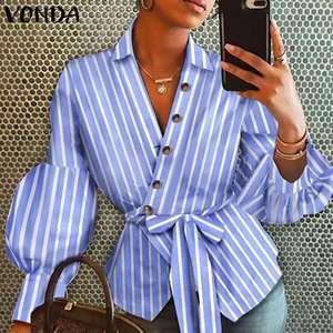Women'Tunic Striped OL Blouse VONDA 2020 Long Sleeve Shirts Lapel Neck Button Up Shirts Fashion Tops Blusas Femininas Plus Size