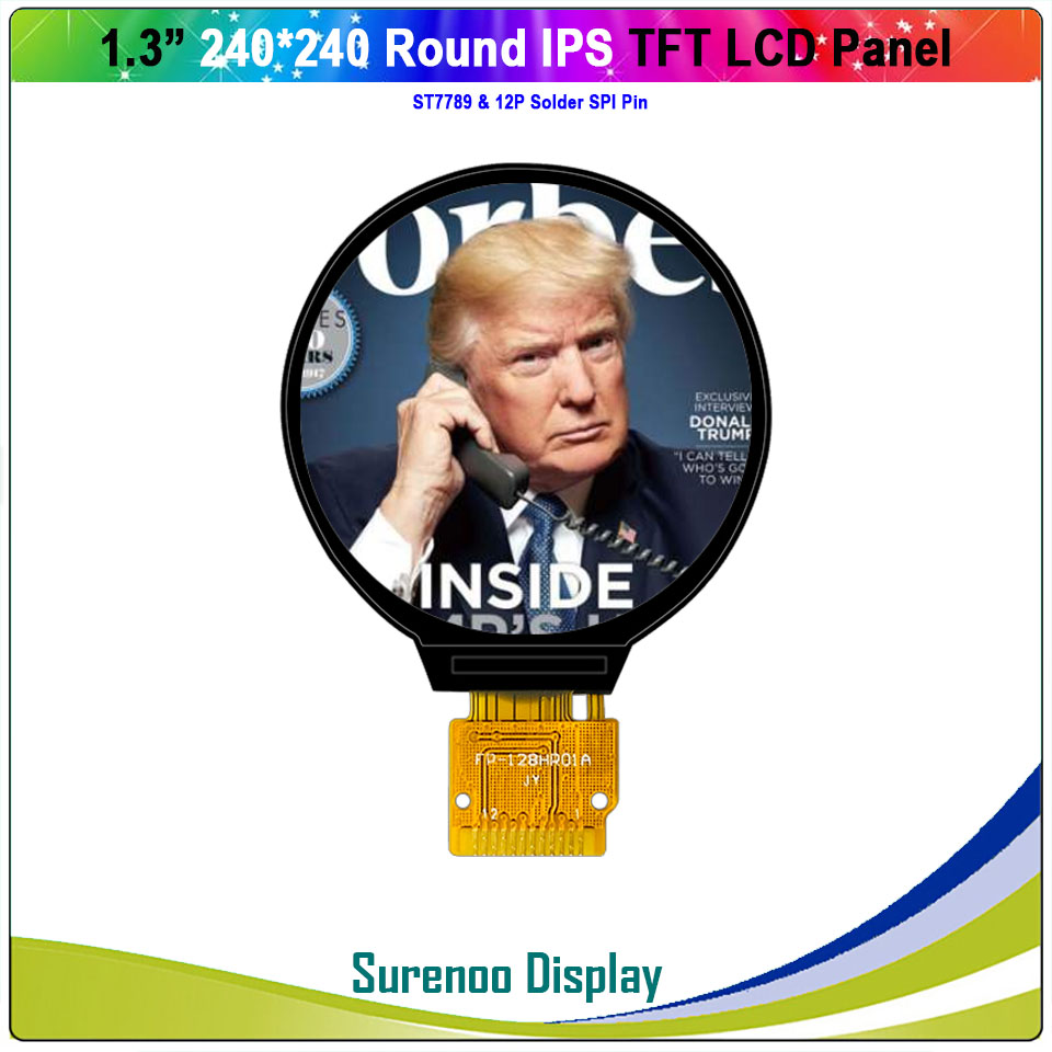 1.3 Inch Round Circle Circular 240X240 IPS Serial SPI ST7789 TFT LCD Display Module Screen Panel With 12P Solder Pin