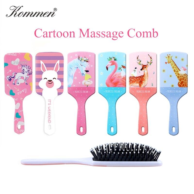Cartoon Print Hair Detangler Comb,Haircare Massage Scalp Airbag Hair Styling Tool,Soft Comb Teeth Hair Brush,Barber Accessories