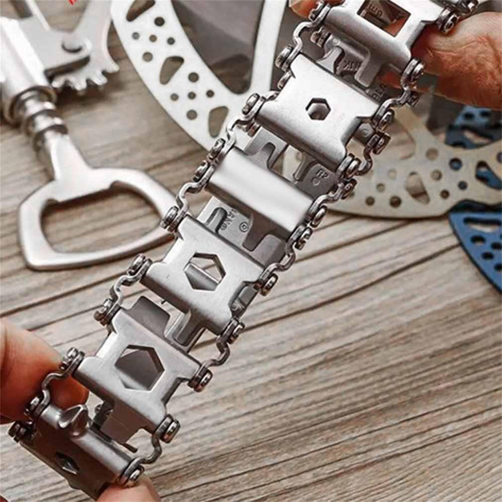 29 en 1 Bracelet multi-outils multifonction tournevis hommes en plein air épissé porter outil main chaîne survie orthèse ouvre-bracelet
