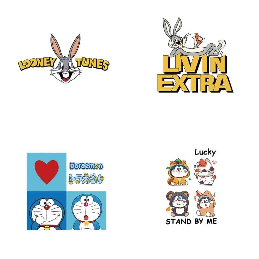 1 piezas camiseta de los niños pegatinas de Doraemon Bugs Bunny de transferencia de calor de parche insignias encantador de la historieta pegatinas térmicas