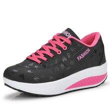 Большие размеры 35-42; женская Тонизирующая обувь на платформе; кроссовки для фитнеса и прогулок; спортивная обувь для танцев, визуально увеличивающая рост
