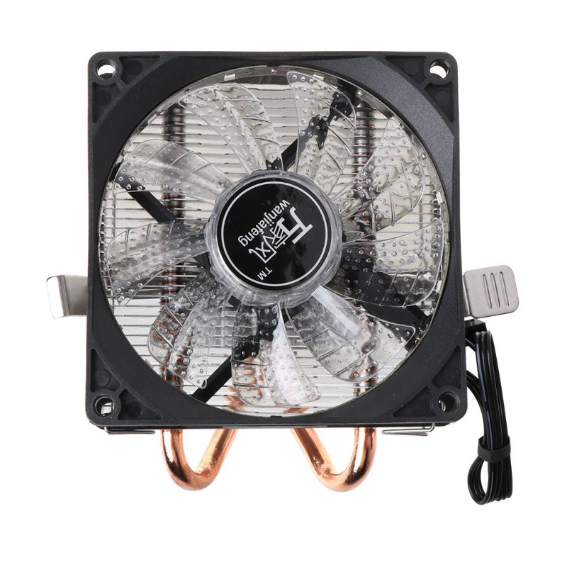 <font><b>CPU</b></font> <font><b>Cooler</b></font> 2 Copper Heat Pipes 4Pin <font><b>CPU</b></font> Cooling Fan with 5 Colors Light for LGA 1151/1155/<font><b>1156</b></font>/AM2+/AM3+/AM4 image
