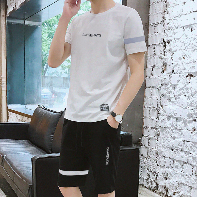 Summer New Style Students Pure Cotton Short Sleeve Two-Piece Set Korean-style Trend Fashion Man T-shirt Men Casual Sports Clothi