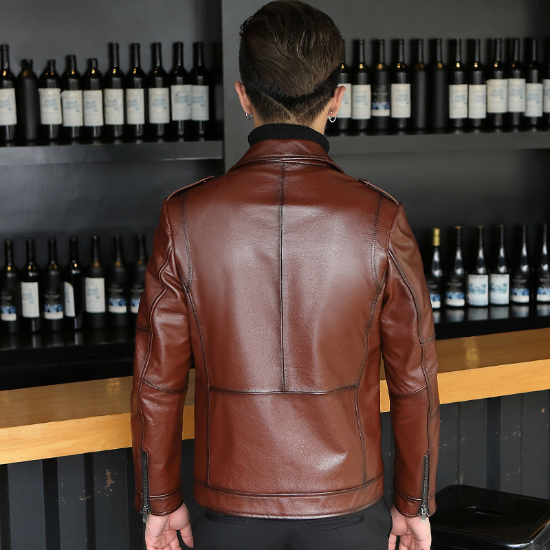 2020 Genuine Leather Jacket Men Autumn 100% Cowhide Jacket Leather Coat Motorcycle Cow Leather Jackets L17-116 KJ3286