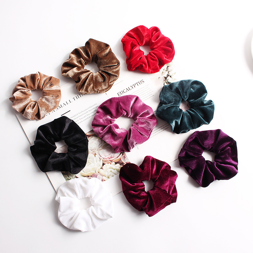 Soft Velvet Hair Scrunchies Elastic Hair Rope Ties Solid Color Ponytail Holder Women Headwear Red White Pink Hair Accessories