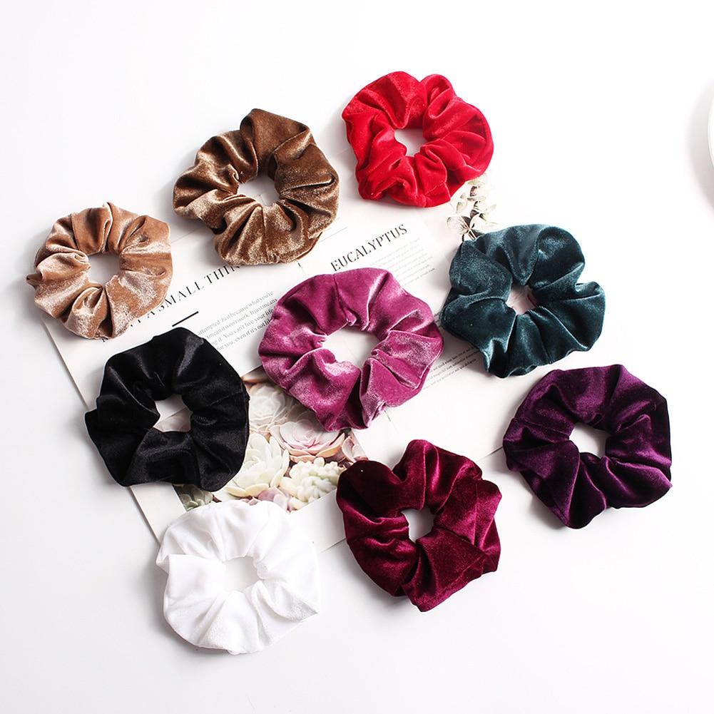 Soft Velvet Hair Scrunchies Elastic Hair Rope Ties Solid Color Ponytail Holder Women   Headwear   Red White Pink Hair Accessories