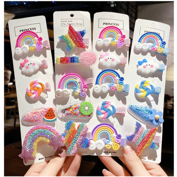 Rainbow cloud lollipop color hairpin for Korean children lovely clip girls hair clips women  pink