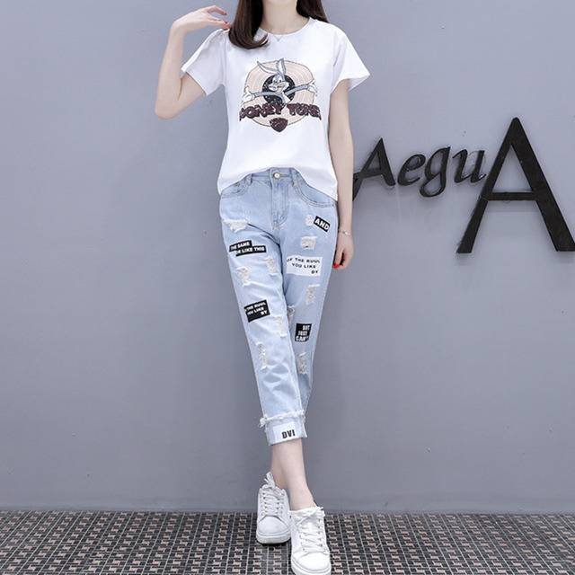 2021 Summer 2 Pieces Jeans Suits Women  Printing Hot Drilling T-Shirts + Calf-Length Denim Ripped Pants Sets Tracksuit Set 2