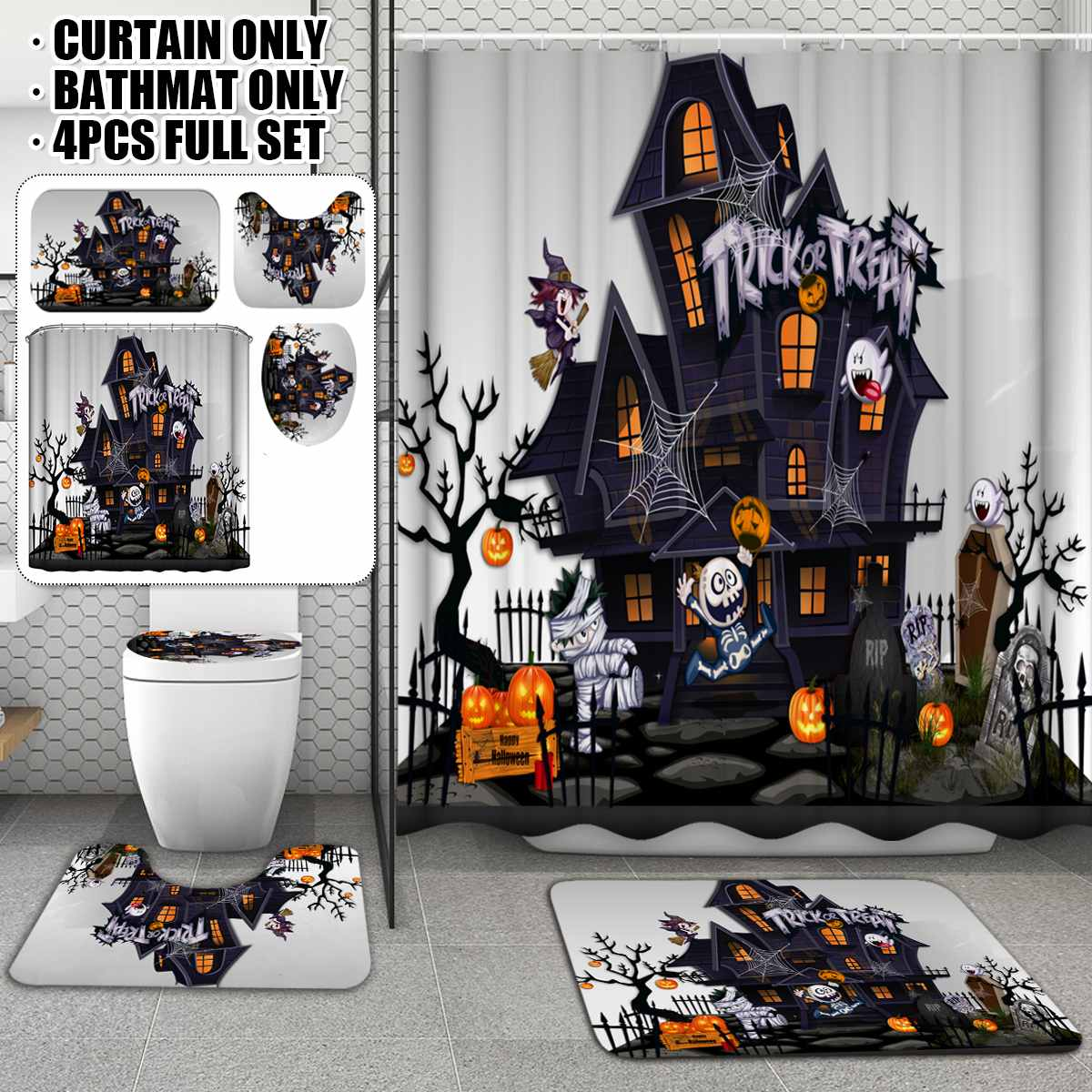 Halloween Help Shower Curtain Bath Floor Mat Lid Toilet Cover Pedestal Rug