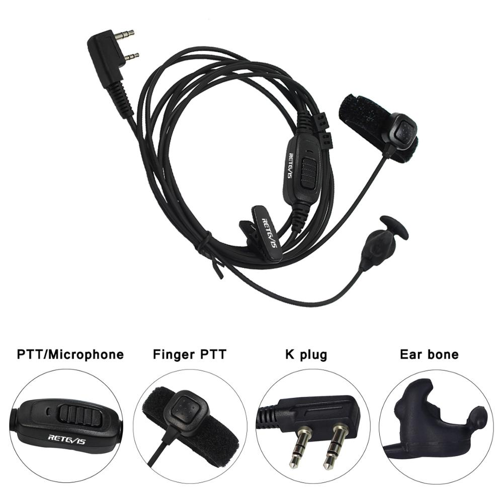 New Retevis R-161 2 Pin Ear Bone Earpiece Finger PTT Vibration Conduction ForKenwood H-777/RT7/RT3/RT8/Baofeng/TYT/Puxing