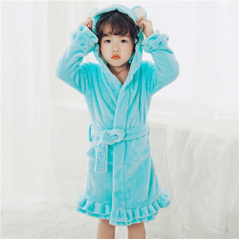 Cartoon Hooded Stereo Bear Ear Parent And Child Children GIRL'S Winter Warm Mink Cashmere Flannel Nightgown Pajamas