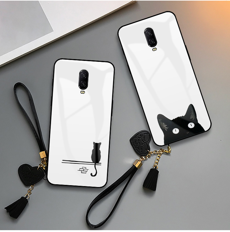Case For <font><b>Oneplus</b></font> 5 5T <font><b>6</b></font> 6T 7 7T Pro Original Phone Cute Cat Lip Print Lanyard Tempered Glass Soft TPU <font><b>Smartphone</b></font> Back Cases image