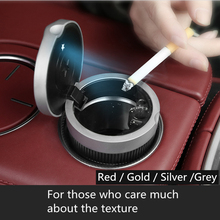 car ashtray for cigarettes with lid and led light  portable gold silver red grey cup holder for men fine craftmanship texture
