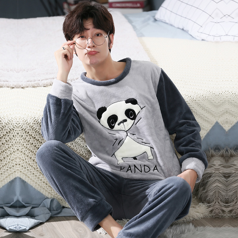 Winter   Pajamas   Men Long Sleeved Coral Fleece Warm Flannel Pyjamas Mens Lounge Animal   Pajama     Set   plus Size 3XL 4XL 5XL Sleepwear