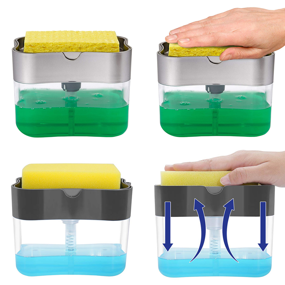 US $5.16 18% OFF|Soap Pump Dispenser with Sponge Holder Cleaning Liquid Dispenser Container Manual Press Soap Organizer Kitchen Cleaner Tool|Liquid Soap Dispensers| |  - AliExpress