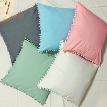 Ins Nordic Solid Color Pillow Cover Simple Sweet Style Ball Throw Cushion Home Sofa Bed Decoration Holding Pillowcase