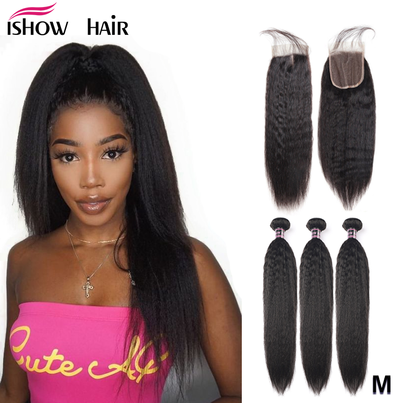Ishow Kinky Straight Bundles With Closure Yaki Straight Human Hair Bundles With Closure Brazilian Hair Weave Bundles Non-Remy