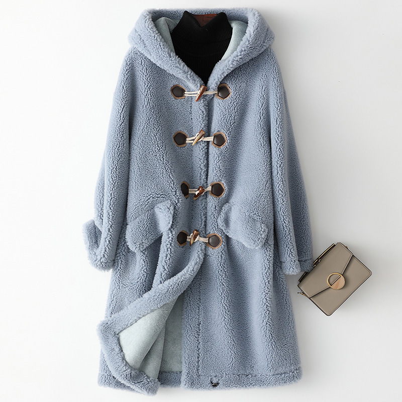 2019 New Wool Real Fur Coat for Women Clothes Winter Sheep Jackets Coats Female Long Hooded Suede Lining Overcoat Ladies futerko