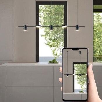 Modern Minimalist Restaurant Pendant Lamp Bar Chandelier Dining Living  Room Creative Long Shape Lights Kitchen Hanglamp
