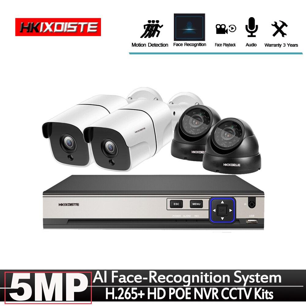 2592*1944P 5MP POE Sicherheit Kamera Gesicht daten anerkennung System mit In/Outdoor CCTV Kameras Einfache Installation echt Plug & Play