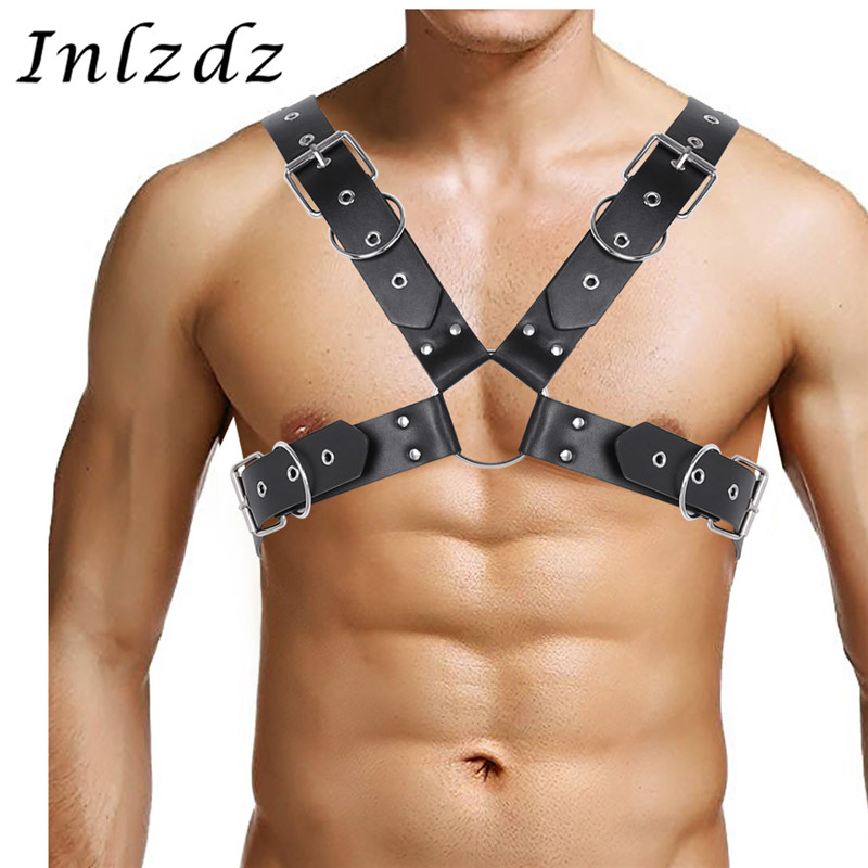 Christmas Mens Leather Look Body Chest Harness Punk O Rings Costume Fancy Belt