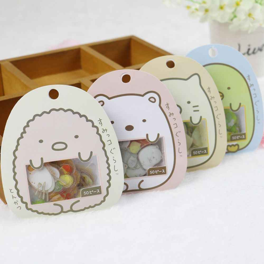 50 pcs/bag Japanese Stationery Stickers Cute Cat Sticky Paper Kawaii PVC Scrapbooking DIY Decoration Diary Stickers