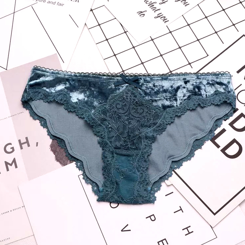 European Fashion Velvet Lace <font><b>Sexy</b></font> Underwear <font><b>Women</b></font> Hollow Out Ruffle Low Waist Panties Sex Crotch Cotton <font><b>Briefs</b></font> Lingerie image
