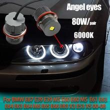 2pcs 80W LED Angel Eyes Marcador Luzes Lâmpadas Brilhante Lâmpada para BMW E87 E39 M5 E60 E61 E63 E64 M6 E65 E66 E83 X3 E53 X5 2000-2008