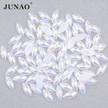 JUNAO 5*10мм 7*15 мм желе Белый AB половина жемчуг горный хрусталь лошадь глаз Кристалл стразы плоской задней жемчуг наклейка для одежды DIY ремесла