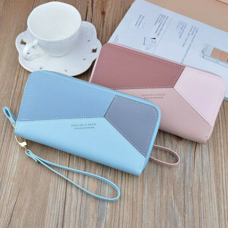 Women Casual Zipper PU Leather Wallet Large Capacity Fashion Simple Patchwork Waterproof Lady Wrist Band Card Purse Phone Bag
